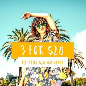 SALE! 3 items for $20, any items $20 and under